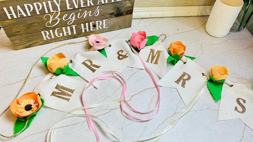 Wedding Bunting with Felt Flowers