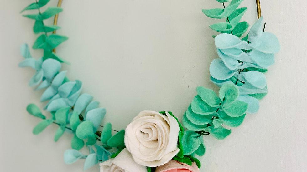 Modern Felt Eucalyptus Greenery Wreath Hoop with Roses