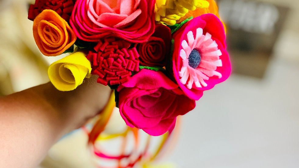 Vibrant Pink, Yellow and Orange Informal Wedding Flowers