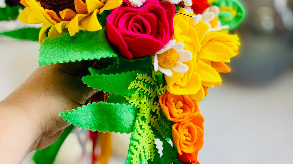 Summer Wedding Bouquet with Sunflowers, Roses, Freesias and Ferns