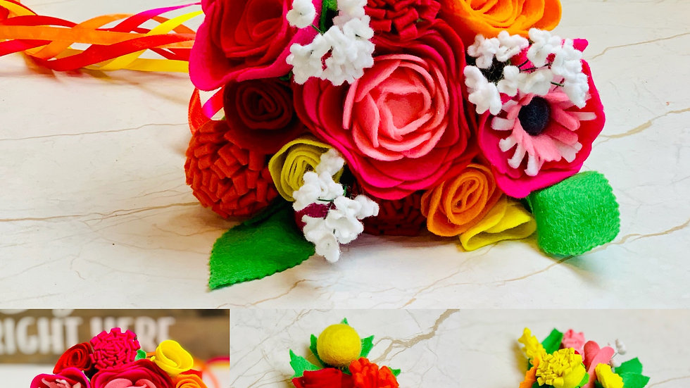 Vibrant Pink, Yellow Orange Set of Wedding Flowers - Bouquets, Posy and Butto