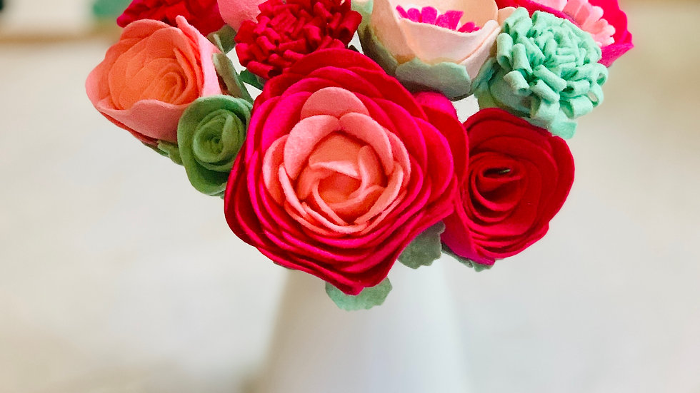 Colourful Felt Flowers in Colours of Your Choice