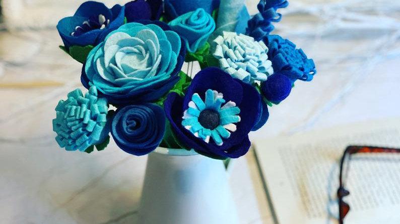 Blue Felt Flowers