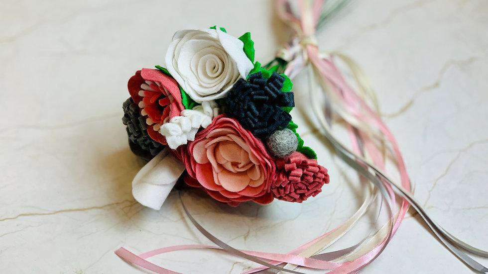 Dusky Rose Pink, White, Grey Informal Wedding Flowers