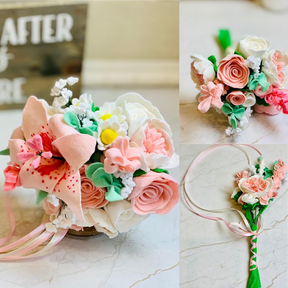 Blush pink and cream wedding flowers