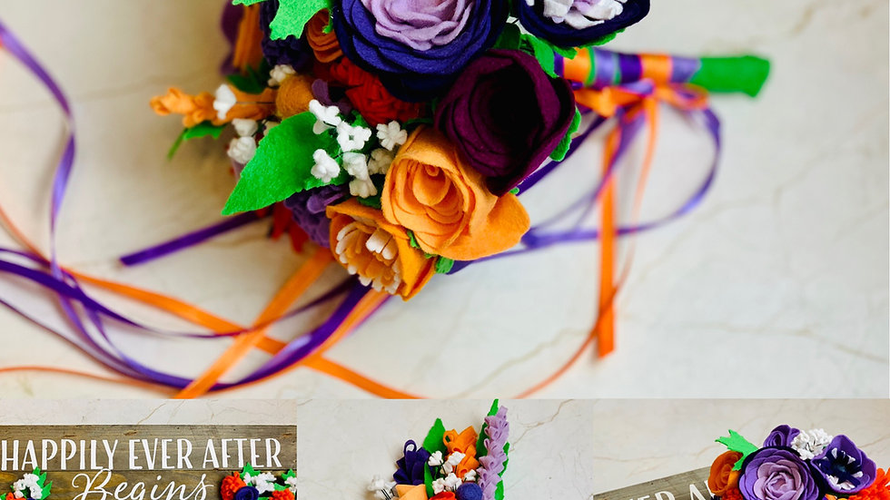Boho Purple and Orange Set of Wedding Flowers - Bouquets, Posy and Buttonholes