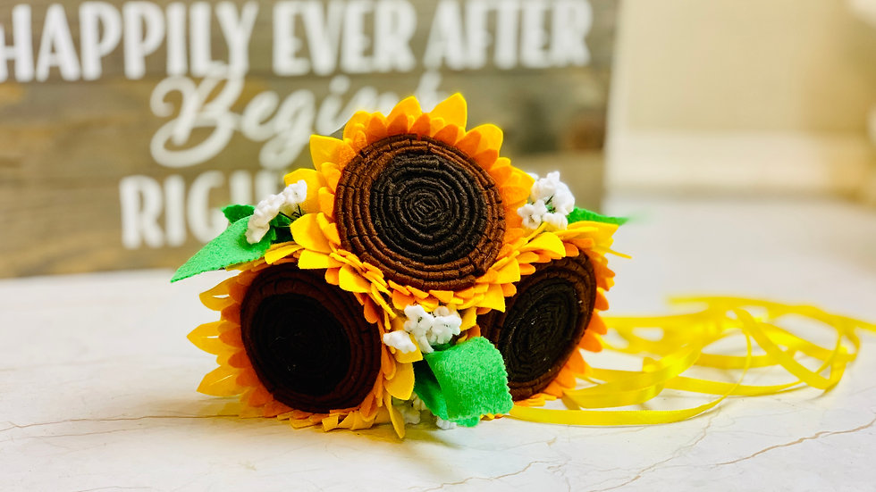 Simple Sunflower Bridesmaid or Small Bridal Bouquet