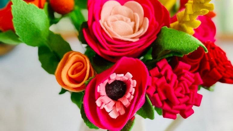 Pink, Orange, Yellow & Red Felt Flowers