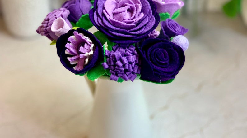 Purple Felt Flowers