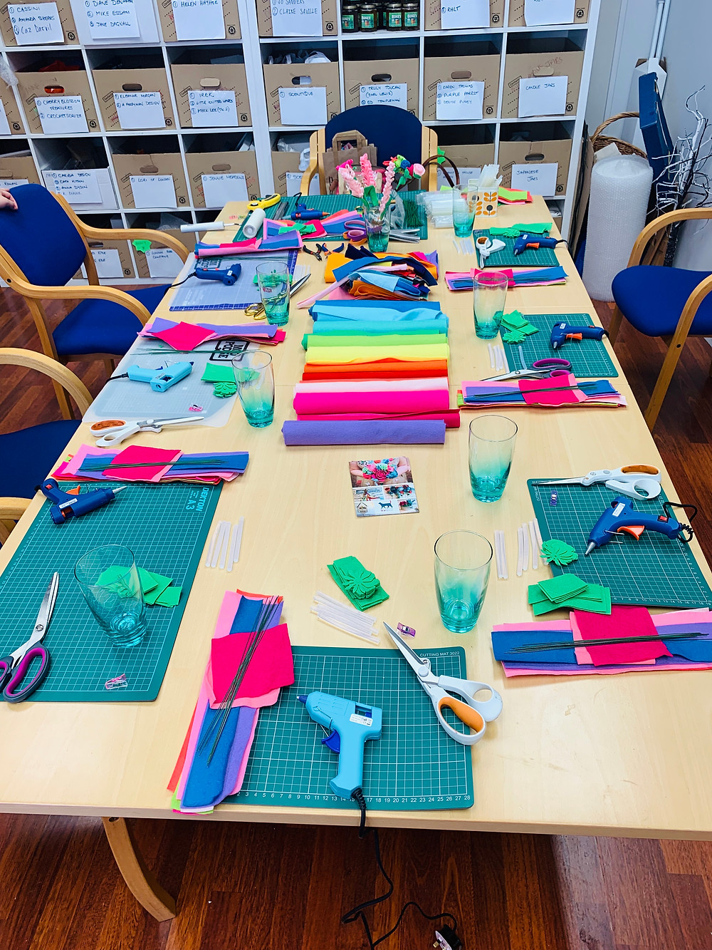 A table laid with felt and tools to make felt flowers