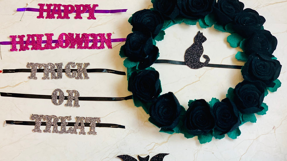 Black Rose Halloween Wreath with Interchangeable Greetings, Cat and Bat