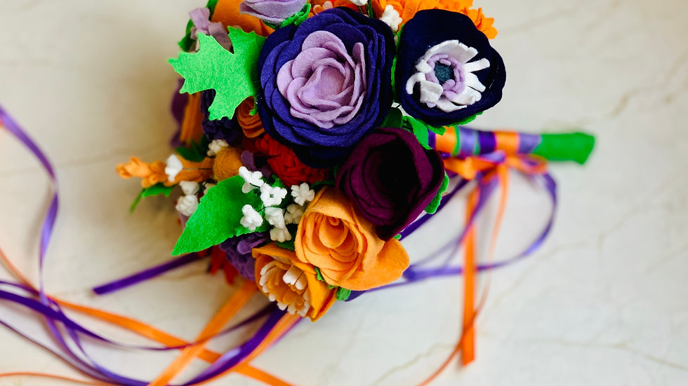 Boho Autumnal Wedding Bouquet in Purple and Orange