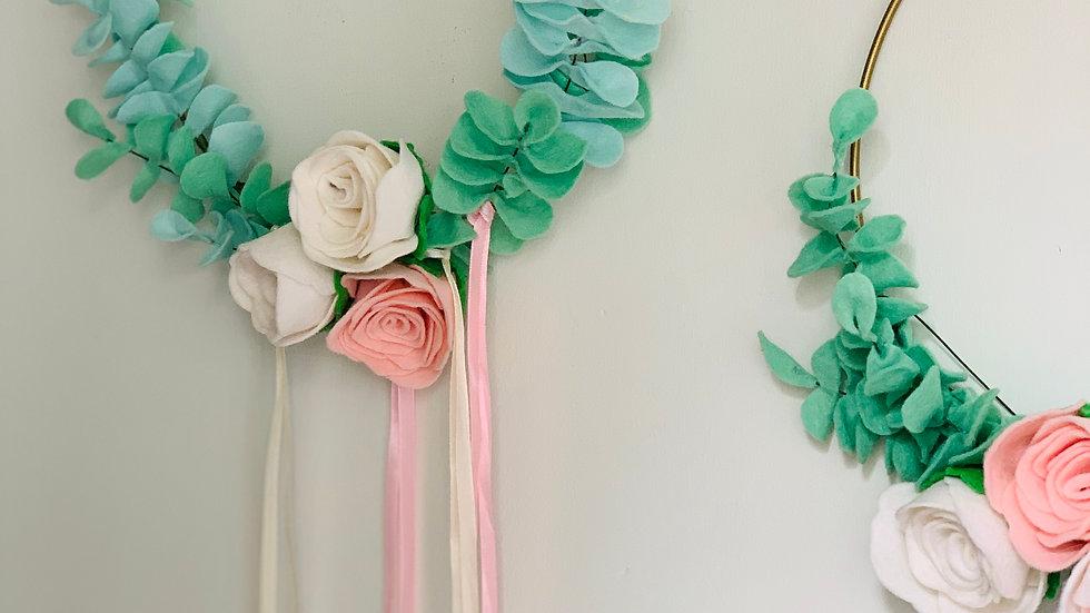 Modern Felt Eucalyptus Greenery Wreath Hoop with Roses and Ribbons