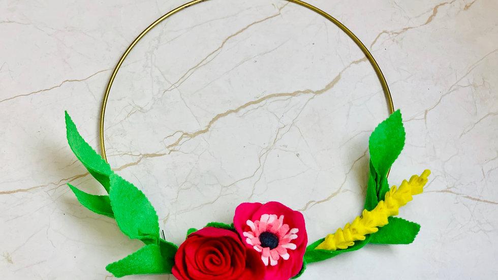 Floral Hoop Wreath for Nursery or Home Decor