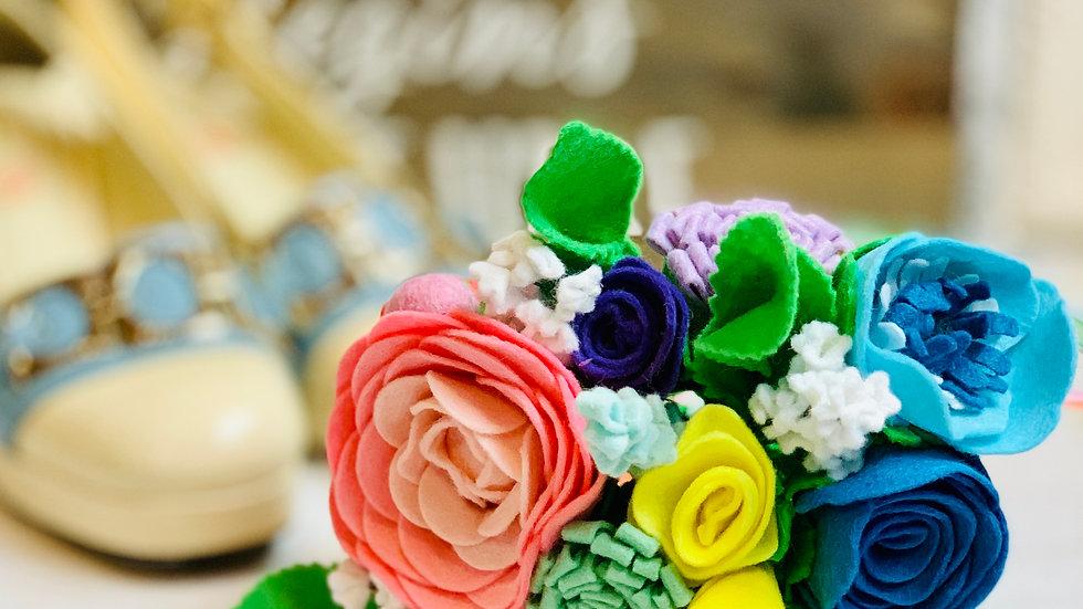Pastel Rainbow Wedding Flowers - Bridal Bouquet
