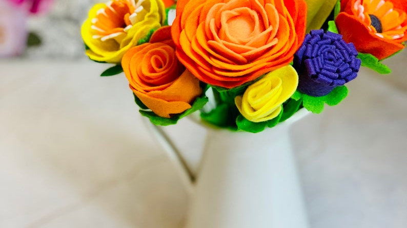Purple, Orange & Yellow Felt Flowers