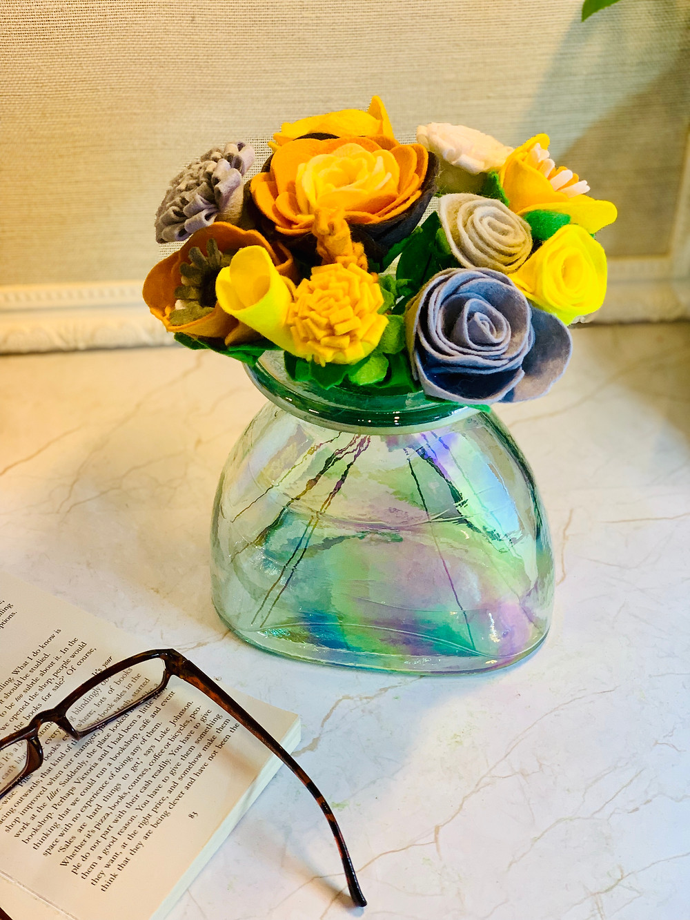 Yellow, Mustard and Grey Felt Flowers to Match your Home Decor