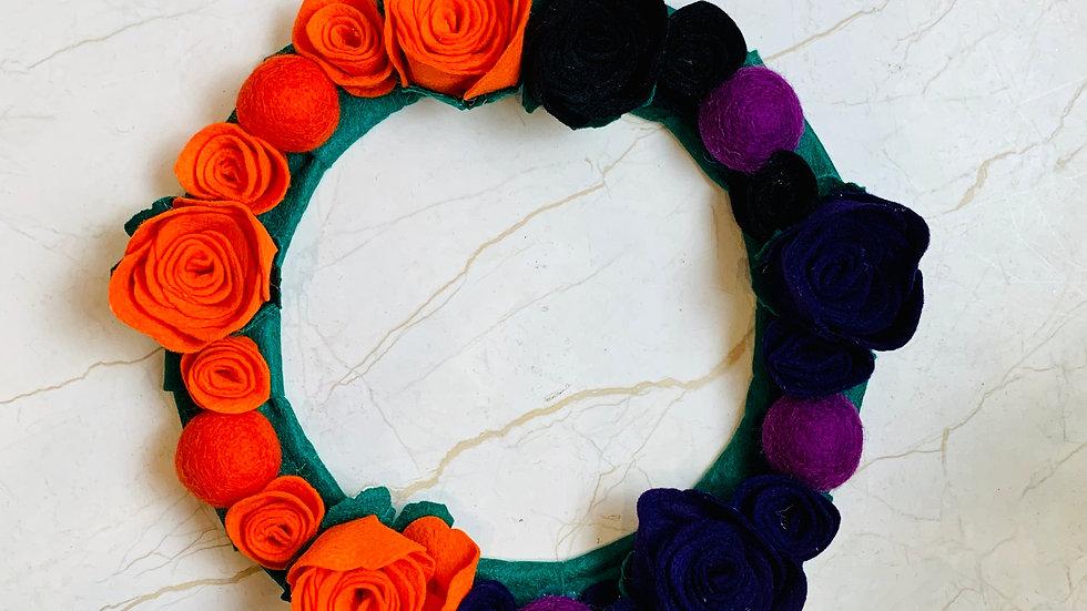 Halloween Wreath with Orange, Black and Purple Felt Flowers