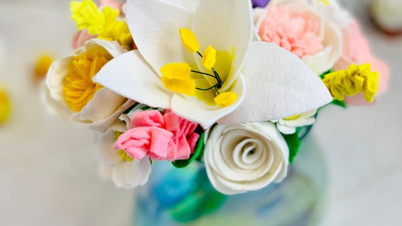Summer Flower Arrangement with Lilies, Peonies and Daisies