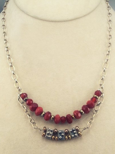 Modern Gemstone and Sterling Chain Necklace