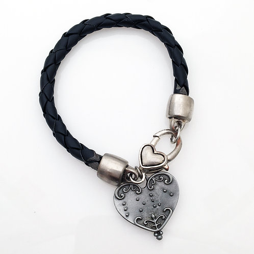 """Love"" on Braided Black Leather Bracelet"