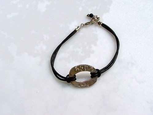 Hammered Sterling Oval and Leather Bracelet