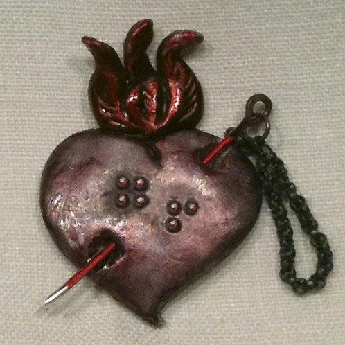 """Go!"" Flaming Heart Pin"