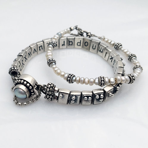Sterling Silver Alphabet Bracelet with freshwater pearl companion bracelet