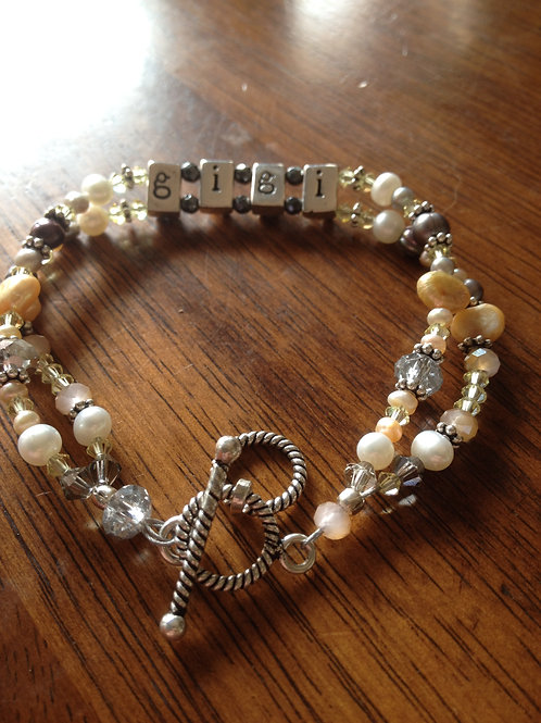 CustomTwo-Strand Bracelet with Crystals and Pearls