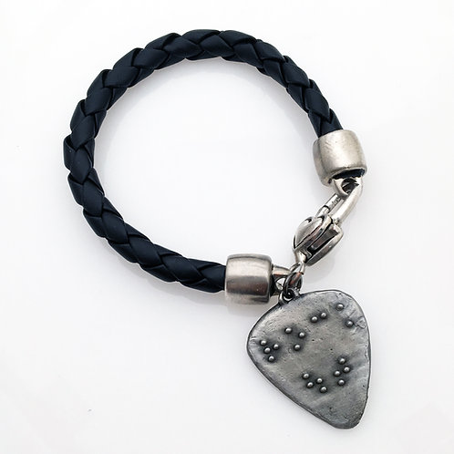 """Rock Out"" Braided Black Leather Bracelet"
