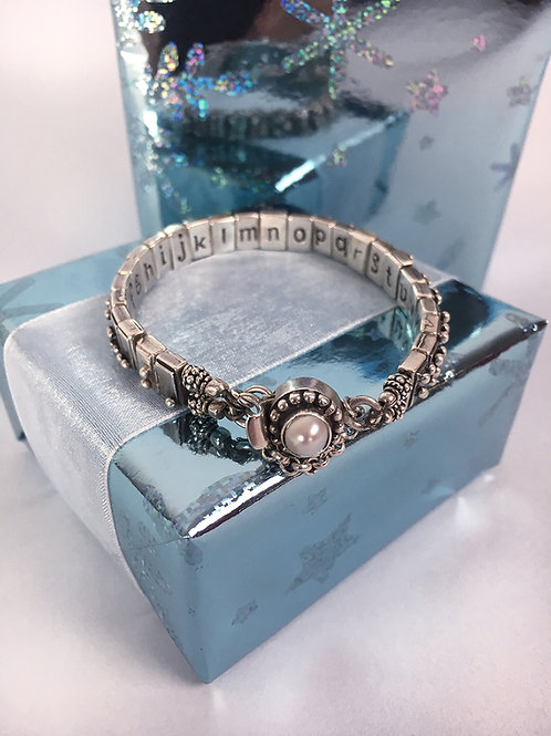 Sterling Silver Alphabet Bracelet with pearl clasp
