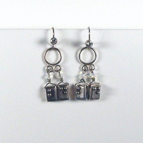 White Topaz Braille Diva Earrings
