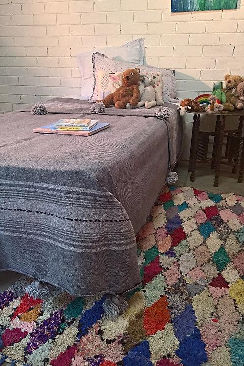Grey Striped Pom Pom Blankets