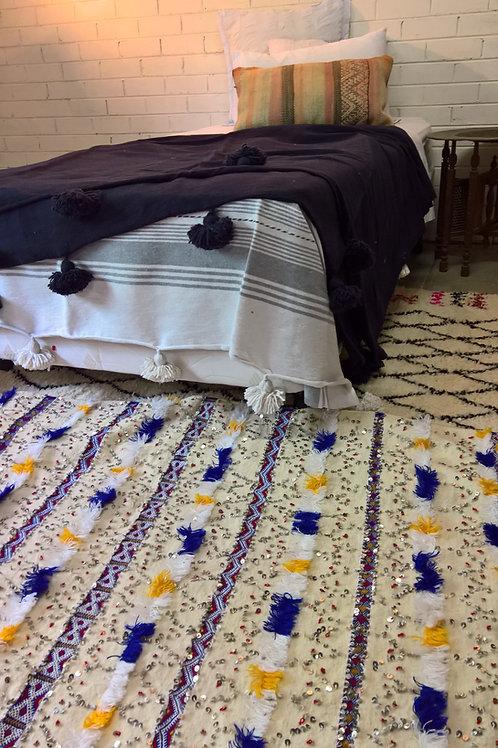 Navy Pom Pom Blanket