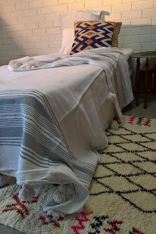 White & Grey Pom Pom Blanket