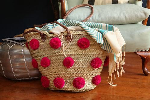 Pink Pompom Basket