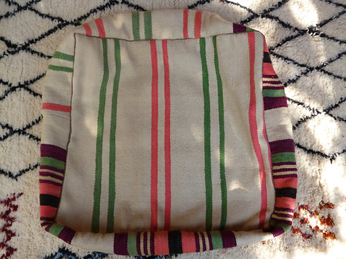 Pink and Green Striped Floor Cushion