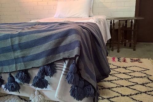 Blue Stripe Pom Pom Blanket