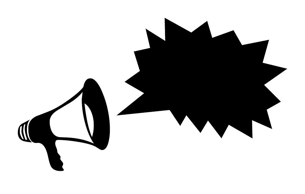 Auf dem Bild ist eine Zeichnung mit einem Megafon und einer Sprechblase zu sehen.