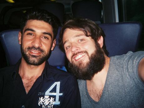 Zoli und ich auf der endlosen Fahrt von Potsdam nach Belzig zum Filmprojekt.