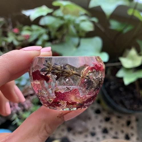Rose Petal & Lavender Resin Cup