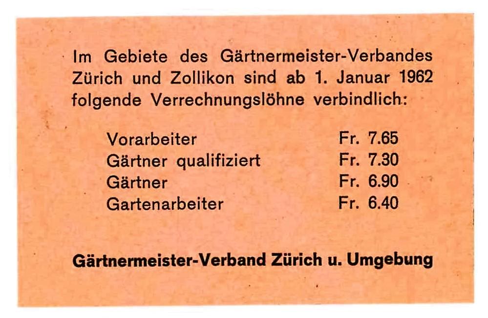 Verrechnungslöhne von 1962