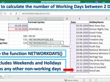 Excel Tip - No. of Days between 2 Dates