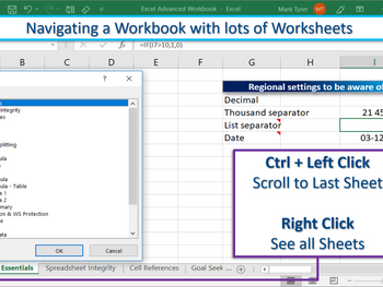 Excel Tip – Navigating a Workbook with Lots of Worksheets