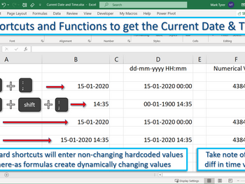 Excel Tip – Entering the Current Date and Time