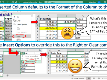 Excel Tip – The Format of an Inserted Column