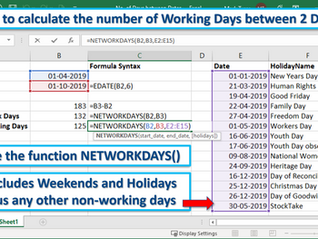 Excel Tip - How to calculate the number of Working Days between 2 Dates