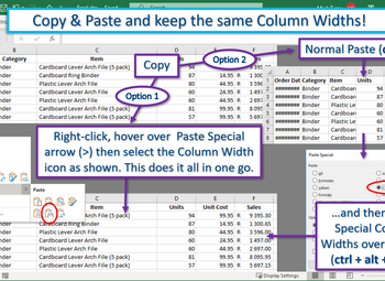 Excel Tip – Copy & Paste and keep Column Widths