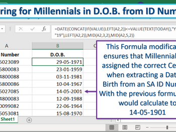 Excel Tip - Catering for Millennials in D.O.B. from an ID Number