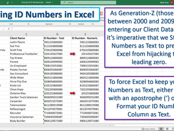 Excel Tip - Storing Generation-Z ID Numbers.